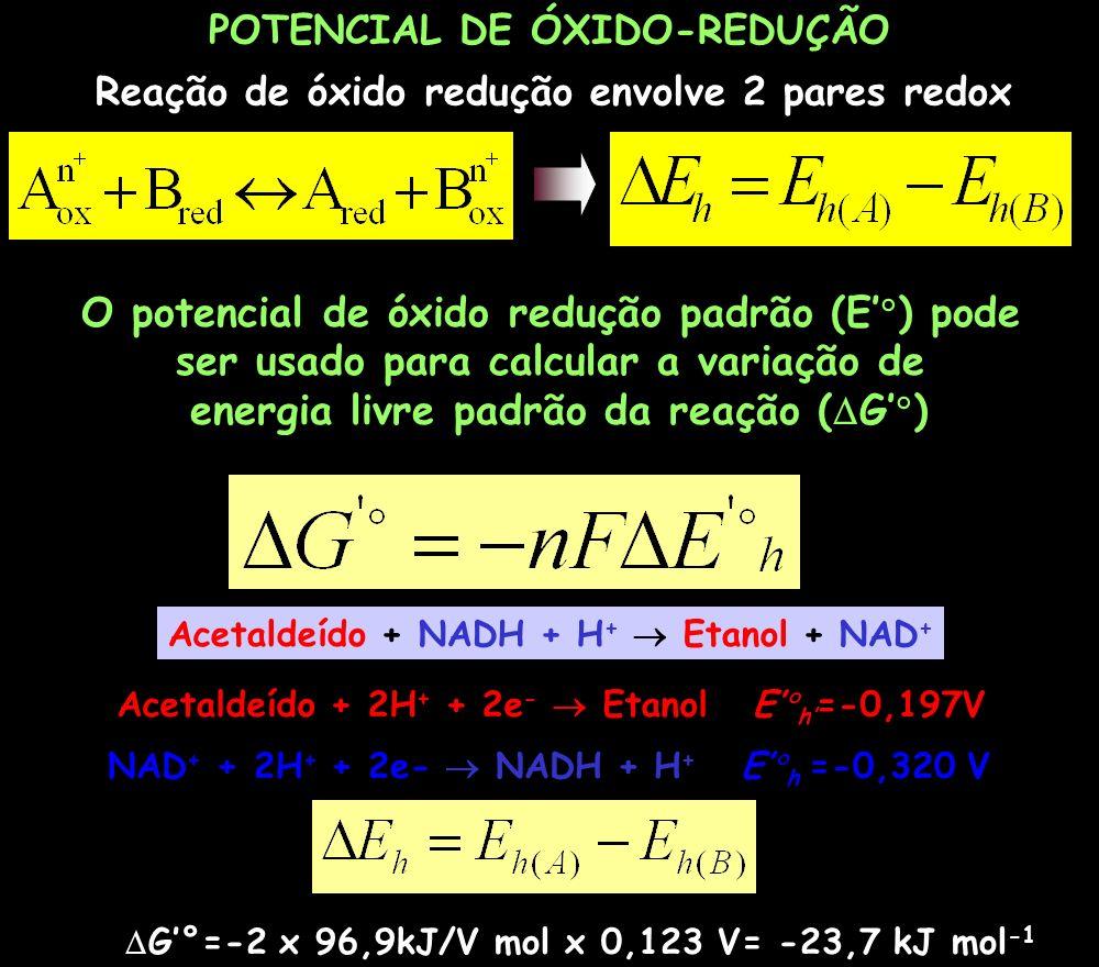 POTENCIAL DE ÓXIDO-REDUÇÃO Reação de óxido redução envolve 2 pares redox O potencial de óxido redução padrão (E ) pode ser usado para calcular a varia