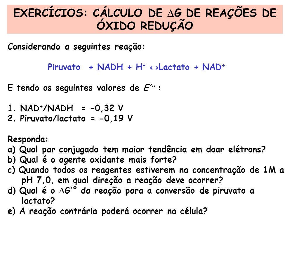 EXERCÍCIOS: CÁLCULO DE G DE REAÇÕES DE ÓXIDO REDUÇÃO Considerando a seguintes reação: Piruvato + NADH + H + Lactato + NAD + E tendo os seguintes valor