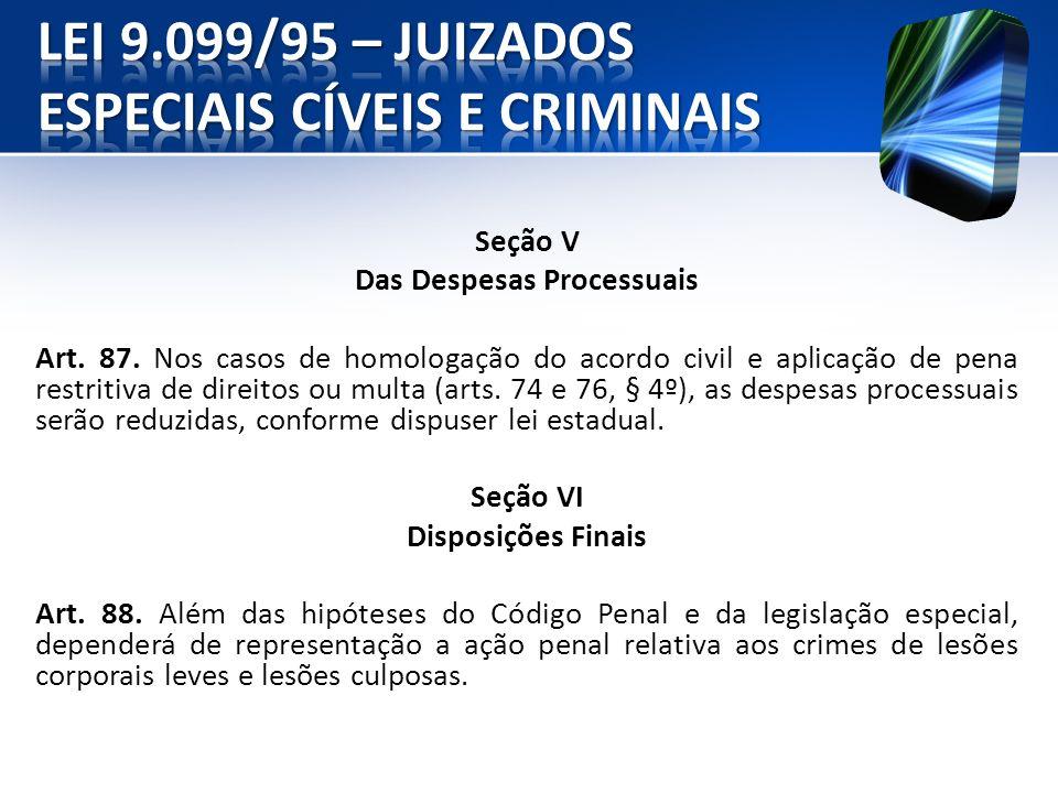 Seção V Das Despesas Processuais Art. 87. Nos casos de homologação do acordo civil e aplicação de pena restritiva de direitos ou multa (arts. 74 e 76,