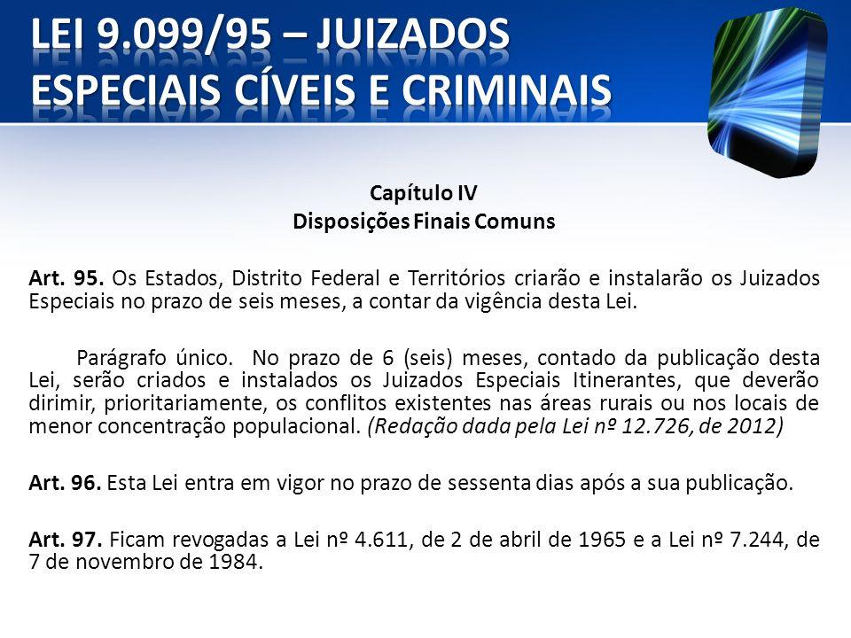 Capítulo IV Disposições Finais Comuns Art. 95. Os Estados, Distrito Federal e Territórios criarão e instalarão os Juizados Especiais no prazo de seis