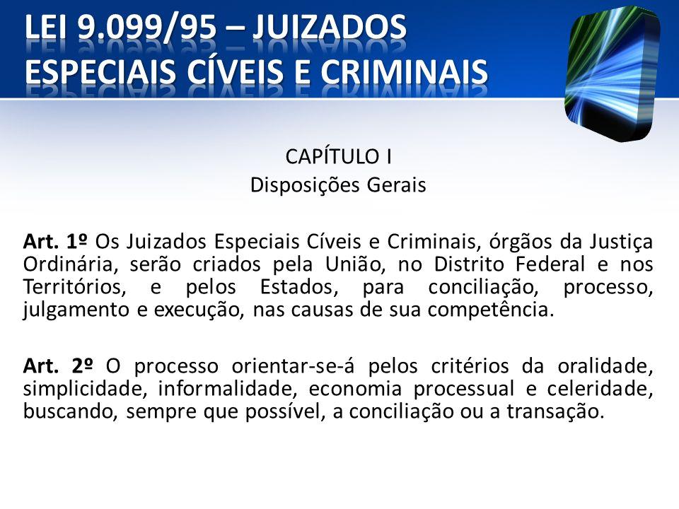 CAPÍTULO I Disposições Gerais Art. 1º Os Juizados Especiais Cíveis e Criminais, órgãos da Justiça Ordinária, serão criados pela União, no Distrito Fed