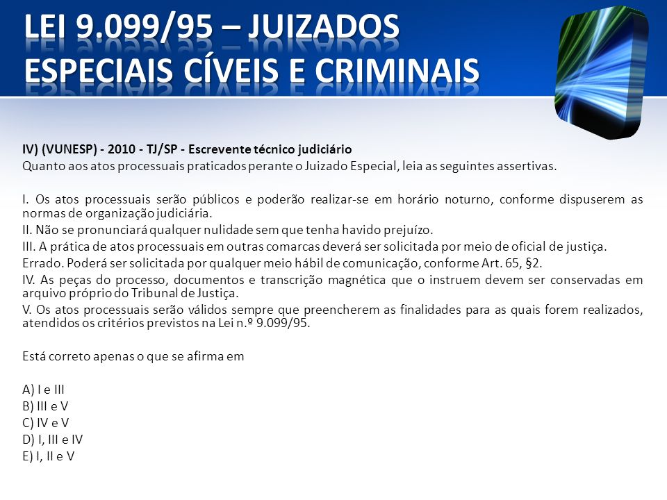 IV) (VUNESP) - 2010 - TJ/SP - Escrevente técnico judiciário Quanto aos atos processuais praticados perante o Juizado Especial, leia as seguintes asser