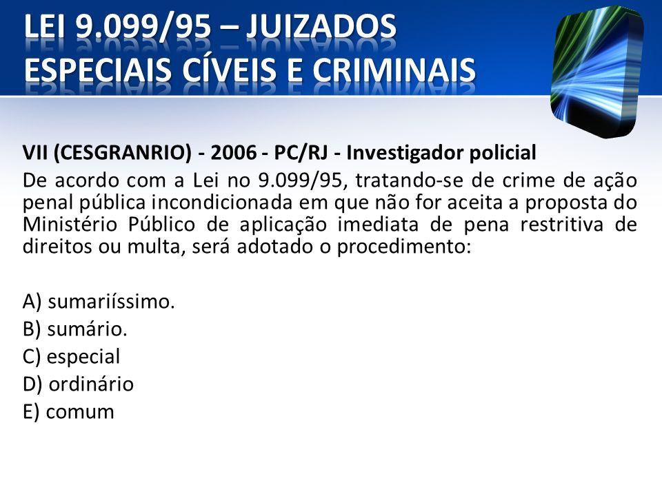 VII (CESGRANRIO) - 2006 - PC/RJ - Investigador policial De acordo com a Lei no 9.099/95, tratando-se de crime de ação penal pública incondicionada em