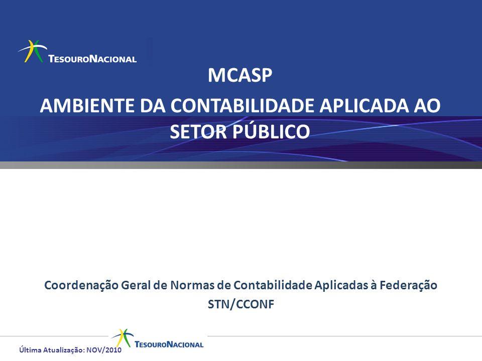 MCASP AMBIENTE DA CONTABILIDADE APLICADA AO SETOR PÚBLICO Coordenação Geral de Normas de Contabilidade Aplicadas à Federação STN/CCONF Última Atualiza
