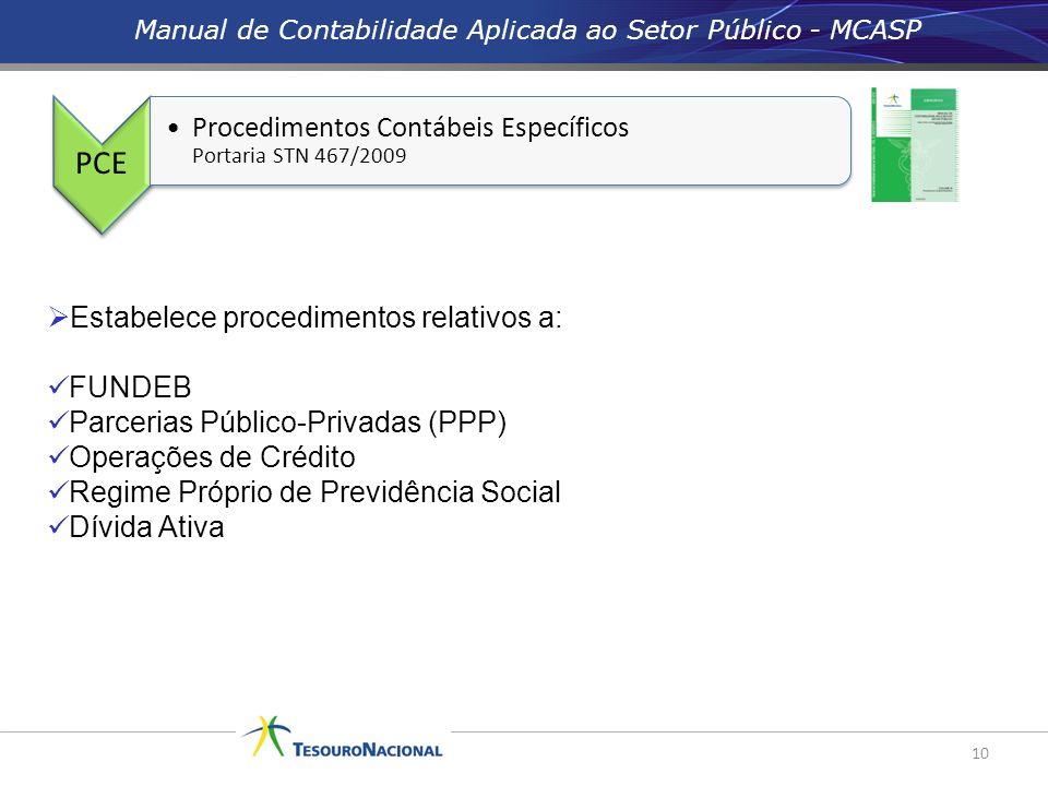 10 PCE Procedimentos Contábeis Específicos Portaria STN 467/2009 Estabelece procedimentos relativos a: FUNDEB Parcerias Público-Privadas (PPP) Operaçõ