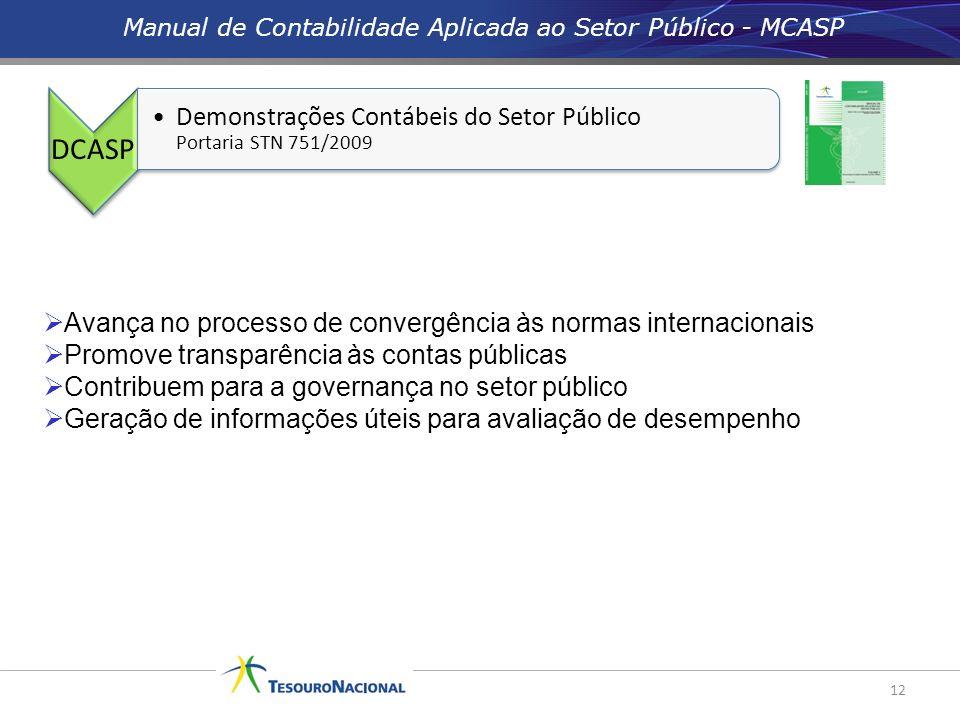 12 Avança no processo de convergência às normas internacionais Promove transparência às contas públicas Contribuem para a governança no setor público