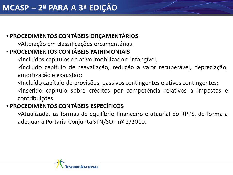 MCASP – 2ª PARA A 3ª EDIÇÃO PROCEDIMENTOS CONTÁBEIS ORÇAMENTÁRIOS Alteração em classificações orçamentárias. PROCEDIMENTOS CONTÁBEIS PATRIMONIAIS Incl