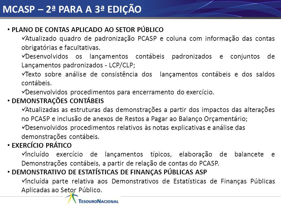 MCASP – 2ª PARA A 3ª EDIÇÃO PLANO DE CONTAS APLICADO AO SETOR PÚBLICO Atualizado quadro de padronização PCASP e coluna com informação das contas obrig