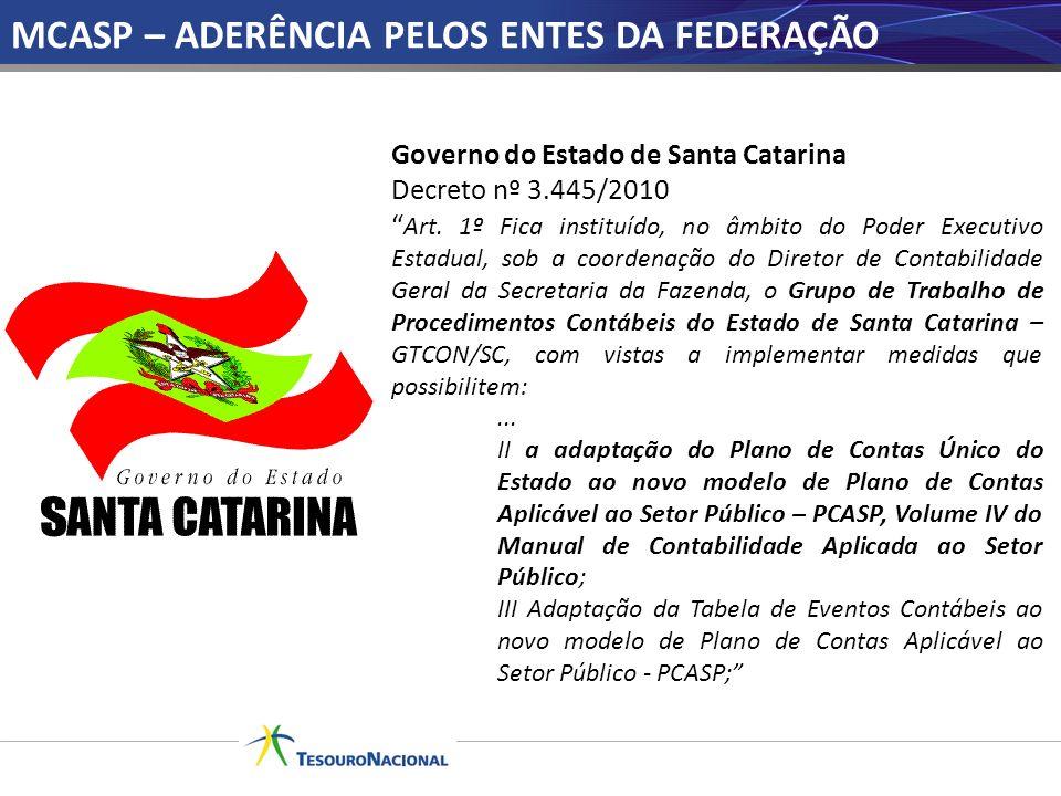 Governo do Estado de Santa Catarina Decreto nº 3.445/2010 Art. 1º Fica instituído, no âmbito do Poder Executivo Estadual, sob a coordenação do Diretor