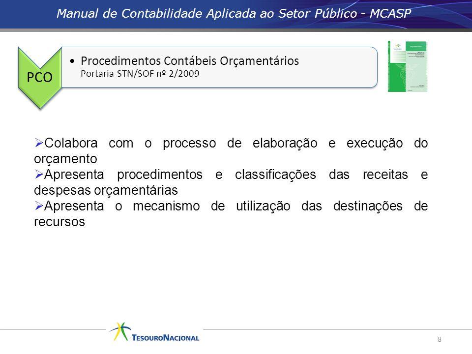 Manual de Contabilidade Aplicada ao Setor Público - MCASP 8 PCO Procedimentos Contábeis Orçamentários Portaria STN/SOF nº 2/2009 Colabora com o proces