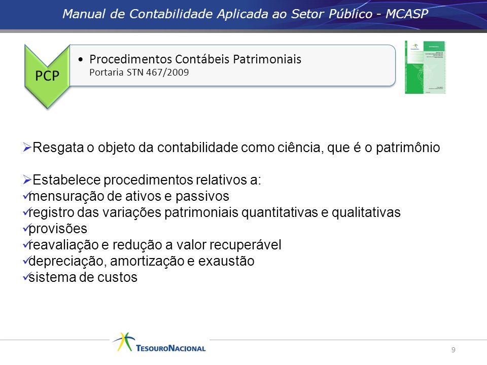 Manual de Contabilidade Aplicada ao Setor Público - MCASP 9 Resgata o objeto da contabilidade como ciência, que é o patrimônio Estabelece procedimento