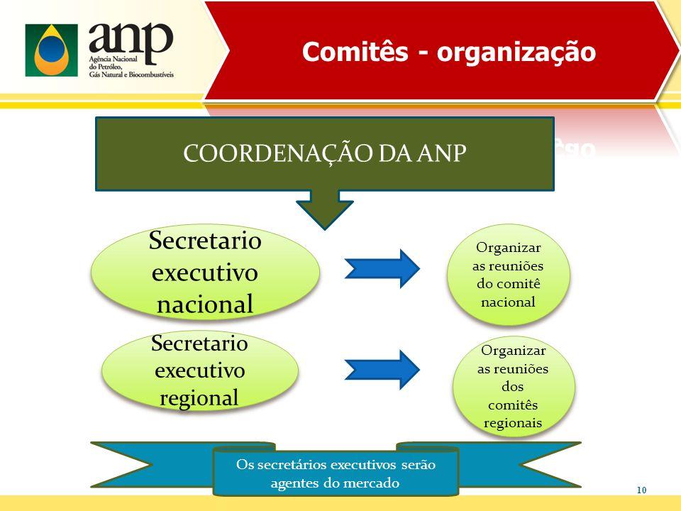 10 COORDENAÇÃO DA ANP Secretario executivo regional Secretario executivo nacional Os secretários executivos serão agentes do mercado Organizar as reun