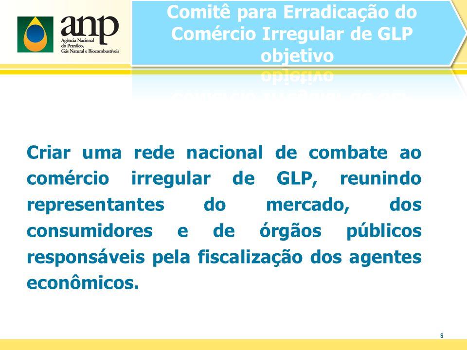 8 Criar uma rede nacional de combate ao comércio irregular de GLP, reunindo representantes do mercado, dos consumidores e de órgãos públicos responsáv