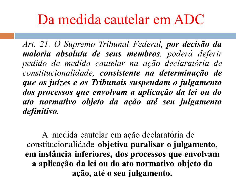 Da medida cautelar em ADC Art. 21. O Supremo Tribunal Federal, por decisão da maioria absoluta de seus membros, poderá deferir pedido de medida cautel