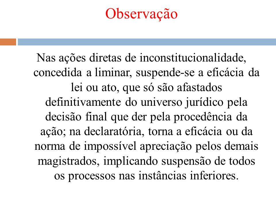 Observação Nas ações diretas de inconstitucionalidade, concedida a liminar, suspende-se a eficácia da lei ou ato, que só são afastados definitivamente