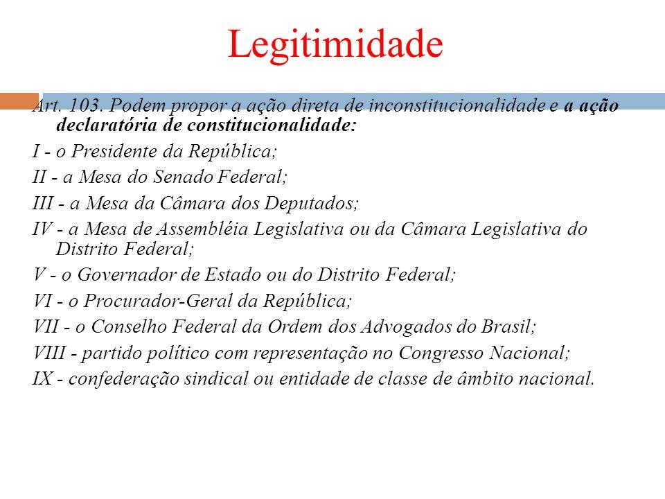 Legitimidade Art. 103. Podem propor a ação direta de inconstitucionalidade e a ação declaratória de constitucionalidade: I - o Presidente da República