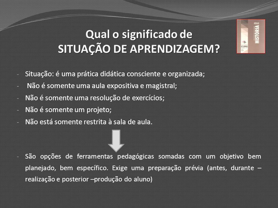Qual o significado de SITUAÇÃO DE APRENDIZAGEM? - Situação: é uma prática didática consciente e organizada; - Não é somente uma aula expositiva e magi