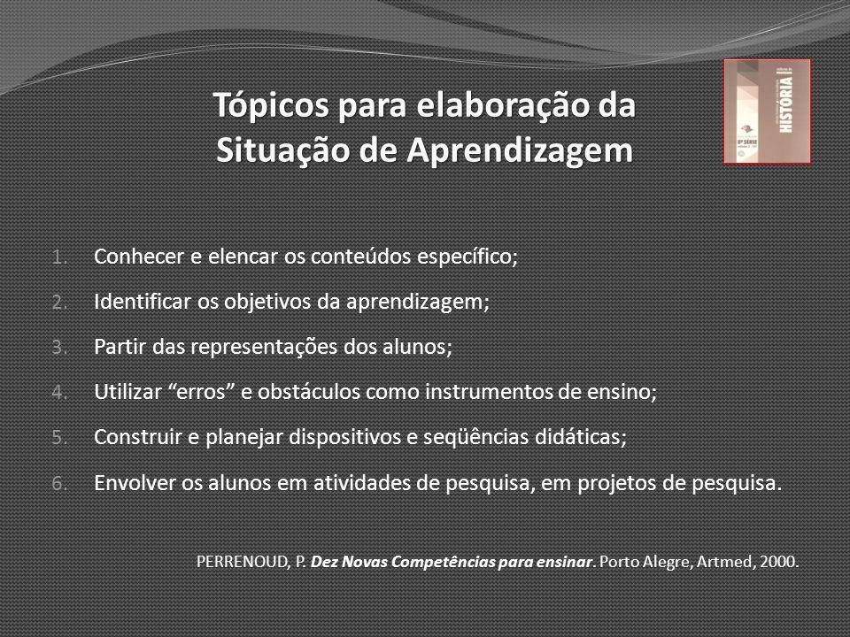 Tópicos para elaboração da Situação de Aprendizagem 1. Conhecer e elencar os conteúdos específico; 2. Identificar os objetivos da aprendizagem; 3. Par