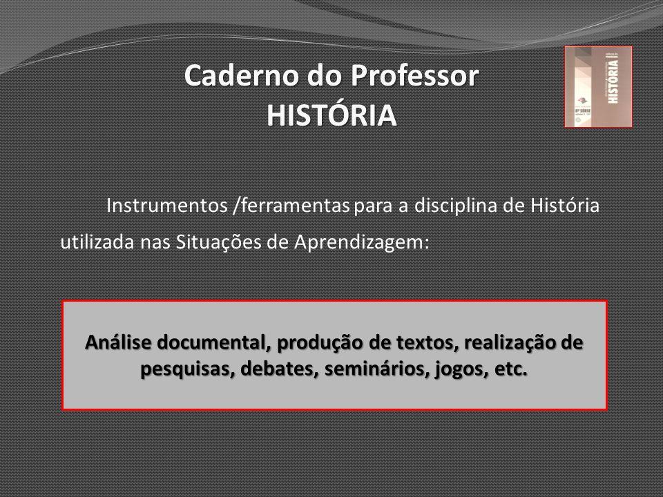 Caderno do Professor HISTÓRIA Instrumentos /ferramentas para a disciplina de História utilizada nas Situações de Aprendizagem: Análise documental, pro