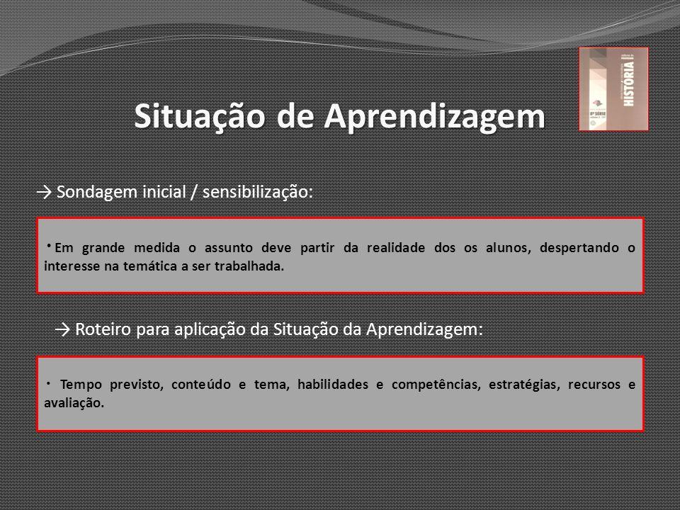 Situação de Aprendizagem Sondagem inicial / sensibilização: Roteiro para aplicação da Situação da Aprendizagem: Em grande medida o assunto deve partir