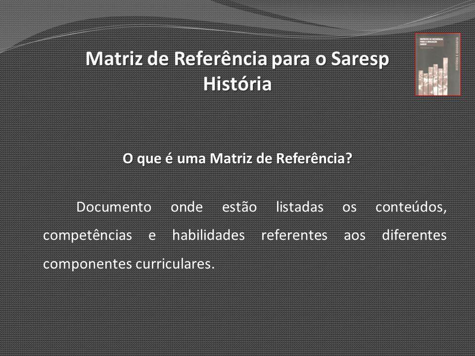 O que é uma Matriz de Referência? Documento onde estão listadas os conteúdos, competências e habilidades referentes aos diferentes componentes curricu