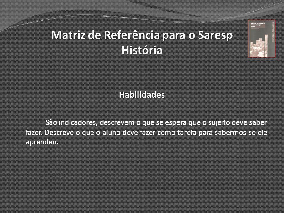 Matriz de Referência para o Saresp História Habilidades São indicadores, descrevem o que se espera que o sujeito deve saber fazer. Descreve o que o al