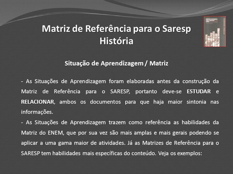 Matriz de Referência para o Saresp História Situação de Aprendizagem / Matriz - ESTUDAR RELACIONAR - As Situações de Aprendizagem foram elaboradas ant