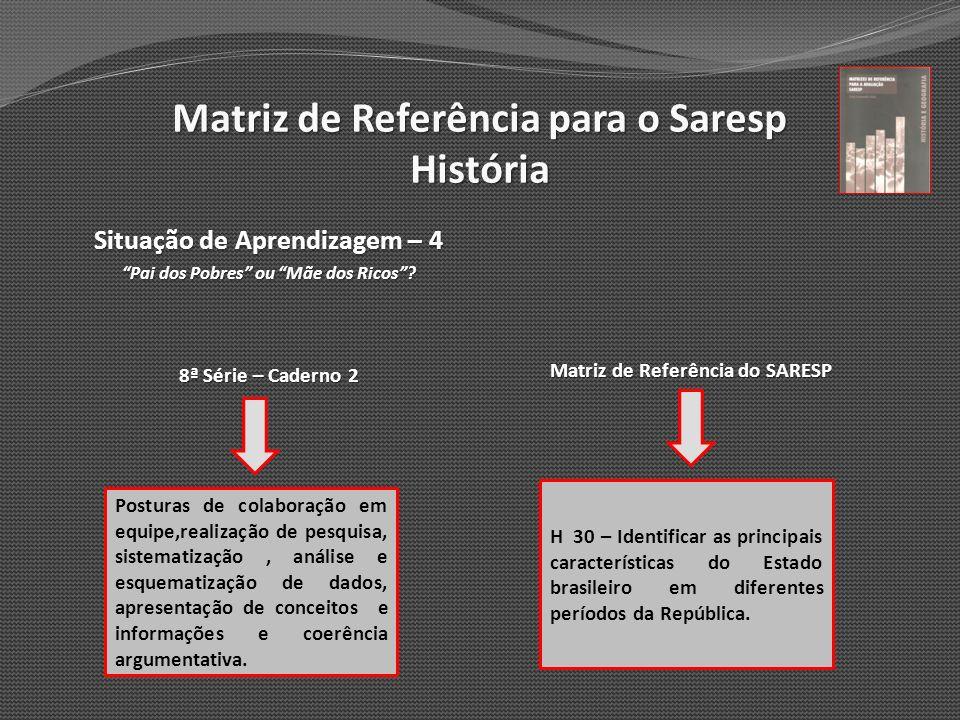 Matriz de Referência para o Saresp História Situação de Aprendizagem – 4 Pai dos Pobres ou Mãe dos Ricos? 8ª Série – Caderno 2 Matriz de Referência do
