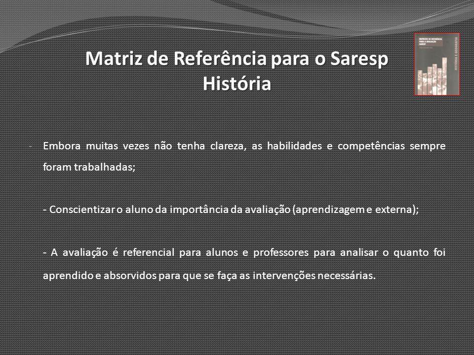 Matriz de Referência para o Saresp História - Embora muitas vezes não tenha clareza, as habilidades e competências sempre foram trabalhadas; - Conscie
