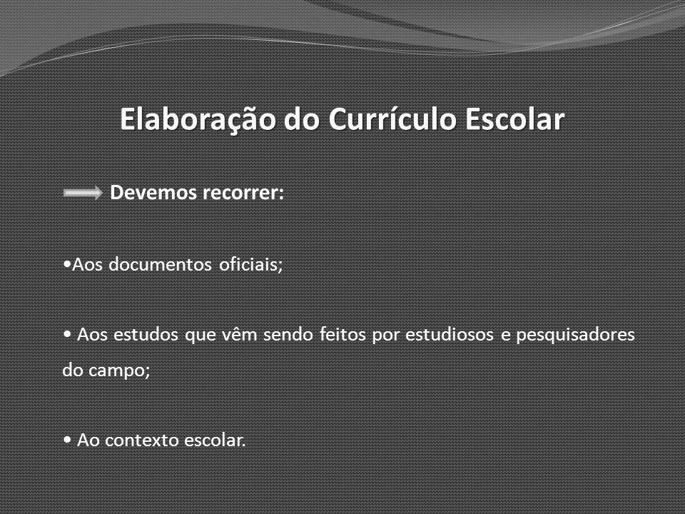 Elaboração do Currículo Escolar Devemos recorrer: Aos documentos oficiais; Aos estudos que vêm sendo feitos por estudiosos e pesquisadores do campo; A