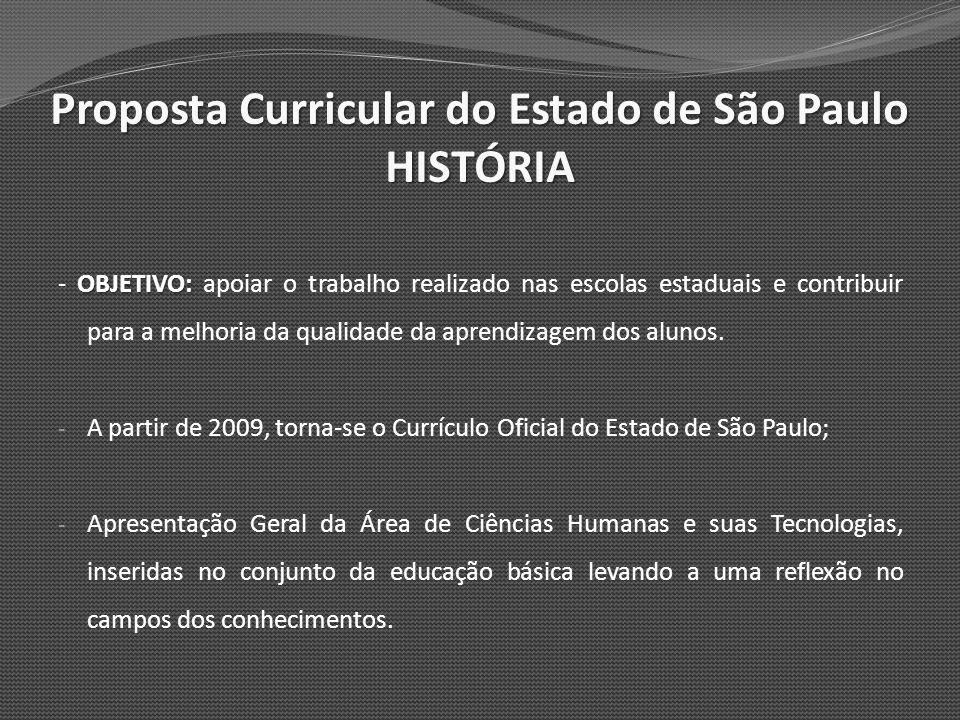 Proposta Curricular do Estado de São Paulo HISTÓRIA HISTÓRIA - Trata dos aspectos específicos para a disciplina HISTÓRIA válido para o Ensino Fundamental – Ciclo II e Ensino Médio.