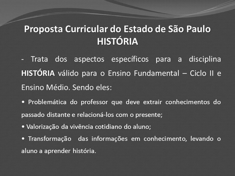 Proposta Curricular do Estado de São Paulo HISTÓRIA - O Currículo se apóia sobre os seguintes eixos temáticos: Tempo e Sociedade História e Memória História e Cultura Cultura e Sociedade Ensino Fundamental Ciclo II