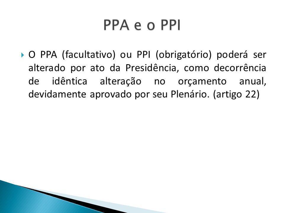O PPA (facultativo) ou PPI (obrigatório) poderá ser alterado por ato da Presidência, como decorrência de idêntica alteração no orçamento anual, devida