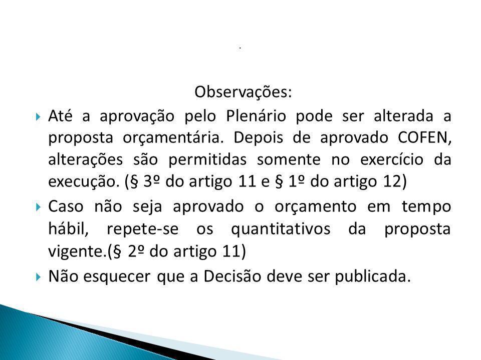 . Observações: Até a aprovação pelo Plenário pode ser alterada a proposta orçamentária. Depois de aprovado COFEN, alterações são permitidas somente no
