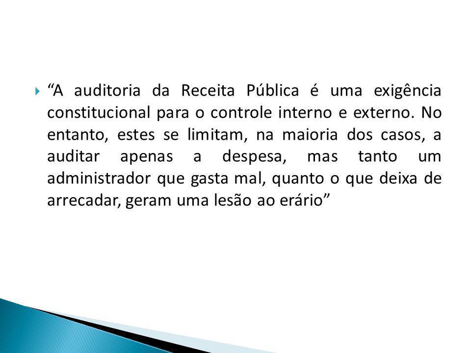A auditoria da Receita Pública é uma exigência constitucional para o controle interno e externo. No entanto, estes se limitam, na maioria dos casos, a