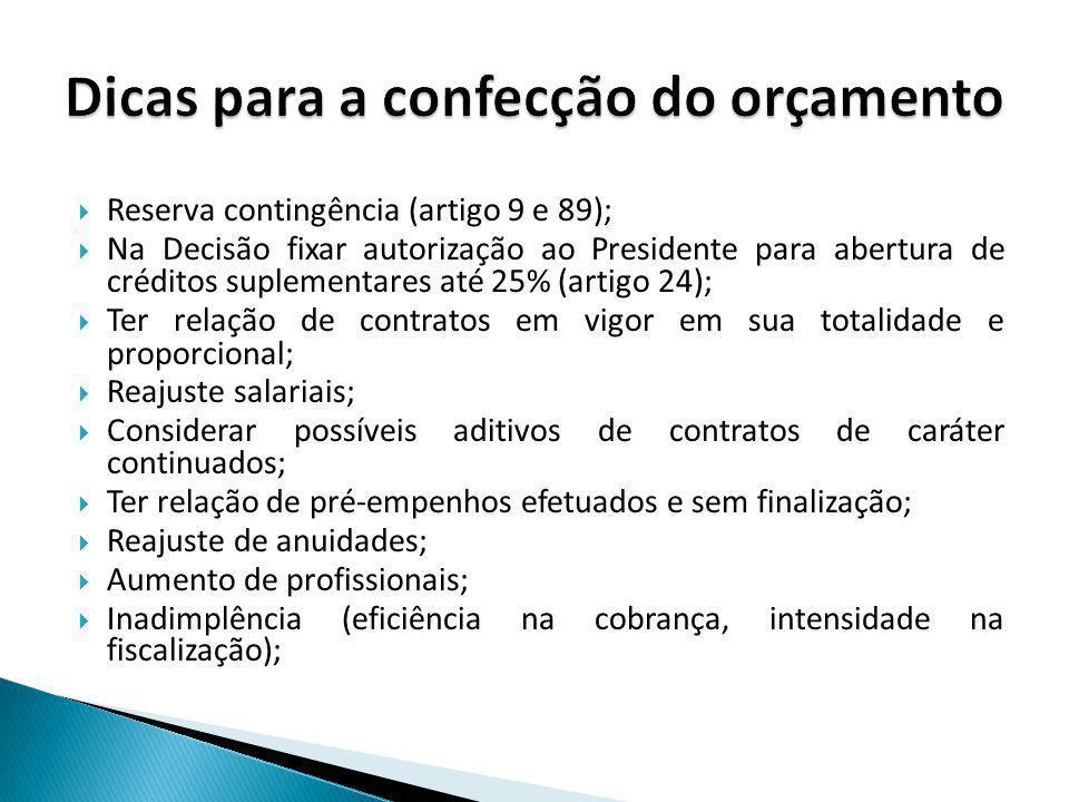 Reserva contingência (artigo 9 e 89); Na Decisão fixar autorização ao Presidente para abertura de créditos suplementares até 25% (artigo 24); Ter rela