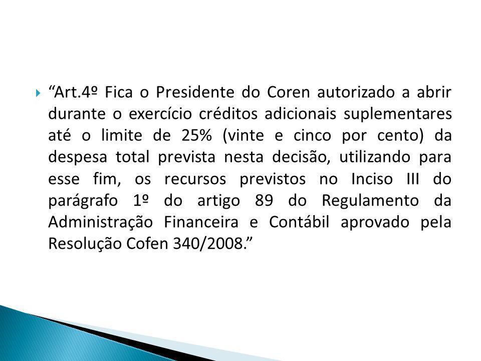Art.4º Fica o Presidente do Coren autorizado a abrir durante o exercício créditos adicionais suplementares até o limite de 25% (vinte e cinco por cent