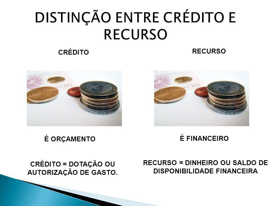 CRÉDITO RECURSO É ORÇAMENTO É FINANCEIRO CRÉDITO = DOTAÇÃO OU AUTORIZAÇÃO DE GASTO. RECURSO = DINHEIRO OU SALDO DE DISPONIBILIDADE FINANCEIRA