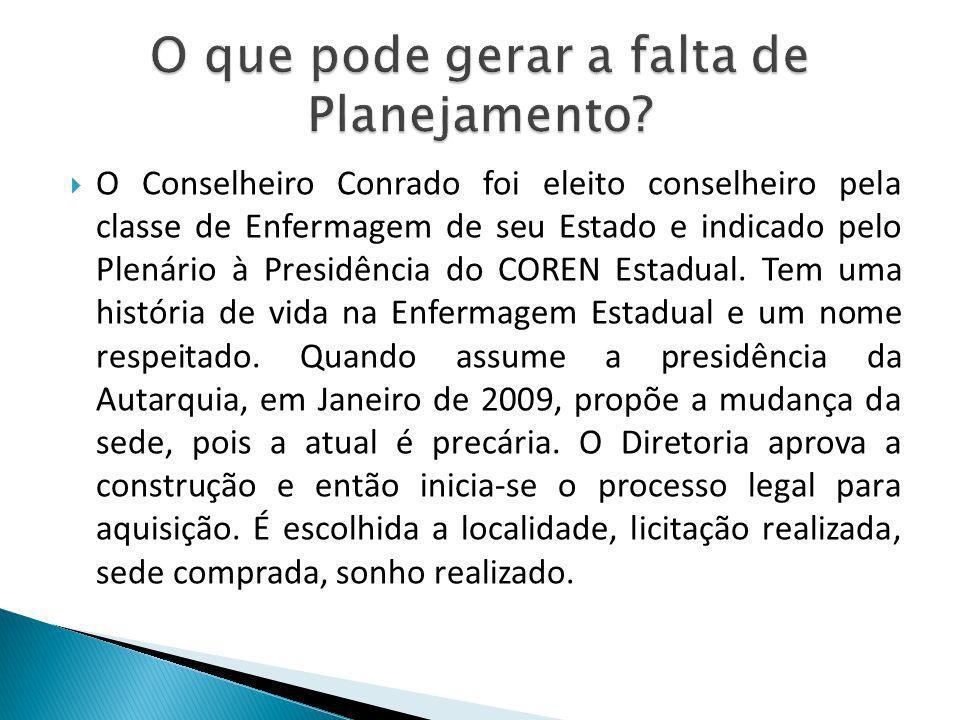 O Conselheiro Conrado foi eleito conselheiro pela classe de Enfermagem de seu Estado e indicado pelo Plenário à Presidência do COREN Estadual. Tem uma