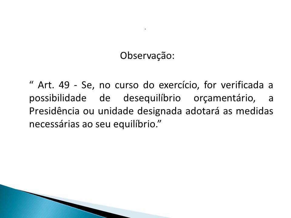 . Observação: Art. 49 - Se, no curso do exercício, for verificada a possibilidade de desequilíbrio orçamentário, a Presidência ou unidade designada ad