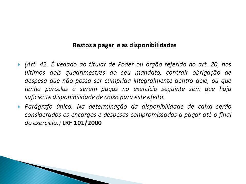 Restos a pagar e as disponibilidades (Art. 42. É vedado ao titular de Poder ou órgão referido no art. 20, nos últimos dois quadrimestres do seu mandat