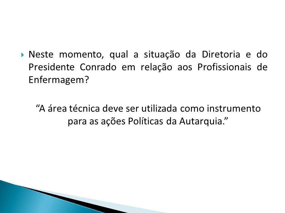 Neste momento, qual a situação da Diretoria e do Presidente Conrado em relação aos Profissionais de Enfermagem.