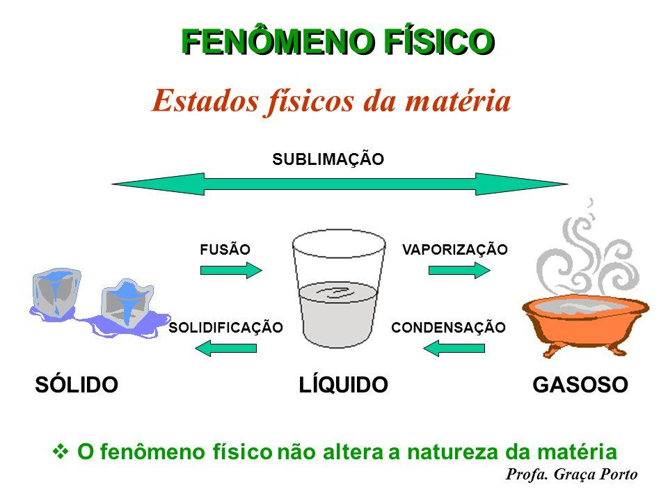 Profa. Graça Porto FENÔMENO QUÍMICO Combustão do álcool etílico H 3 C- CH 2 - OH + 3O 2 2CO 2 + 3H 2 O Reagentes Produtos O fenômeno químico transform