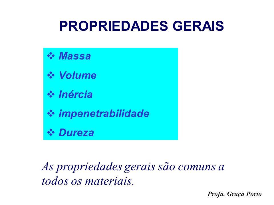 Profa. Graça Porto PROPRIEDADES DA MATÉRIA PROPRIEDADES GERAIS PROPRIEDADES FUNCIONAIS PROPRIEDADES ESPECÍFICAS: