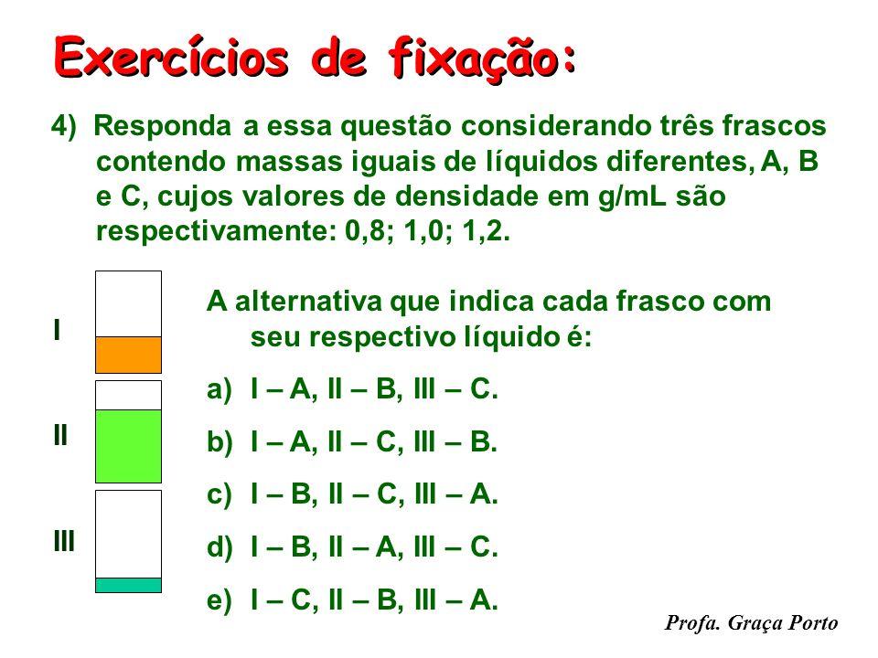 Profa. Graça Porto Exercícios de fixação: tempo (min) T1T1 B T°C T2T2 A (01) Se a amostra A e B forem idênticas, então a pressão é diferente para cada
