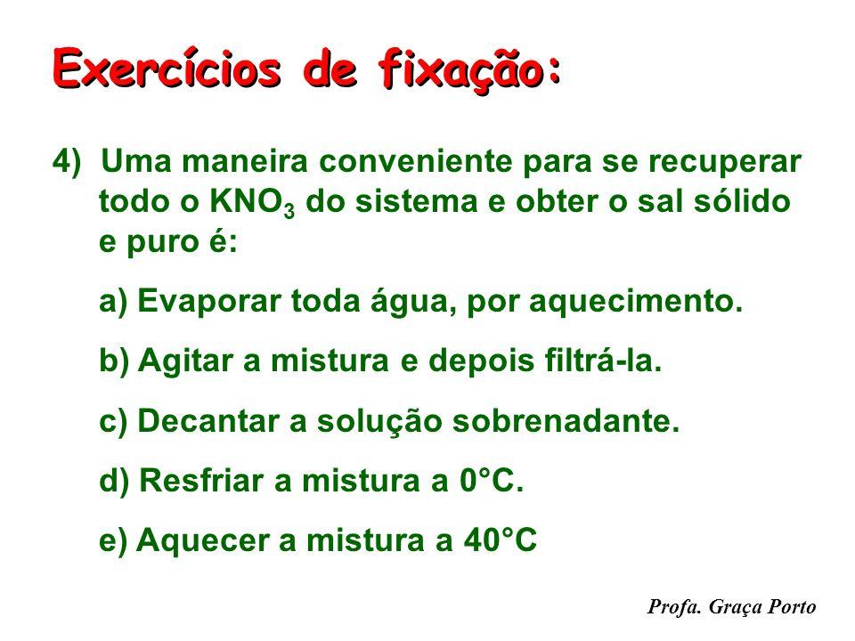 Profa. Graça Porto 3) Essa mistura heterogênea, inicialmente a 20°C, é aquecida até 60°C. Dessa forma: a) A solução aquosa torna-se insaturada. b) A s