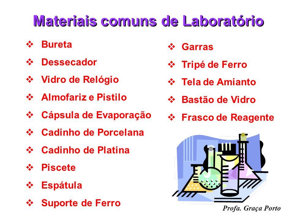 Profa. Graça Porto Materiais comuns de Laboratório Tubo de Ensaio Béquer Erlenmeyer Balão de Fundo Chato Balão Volumétrico Balão de Destilação Condens