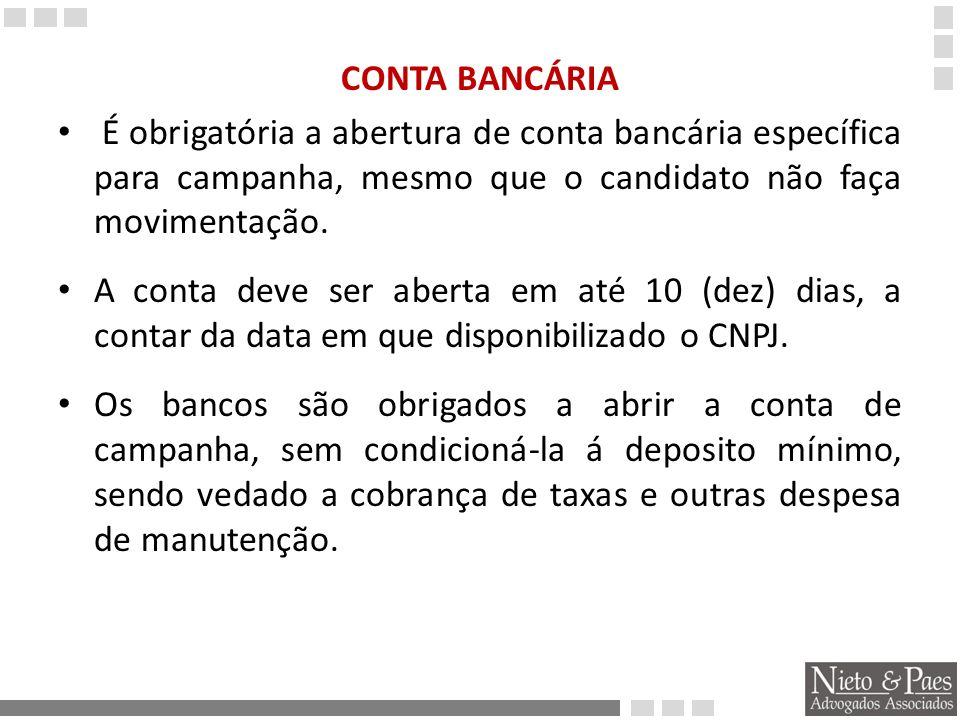 A conta bancária deve ser do tipo que restringe depósitos não identificados por nome e numero de CPF ou CNPJ.