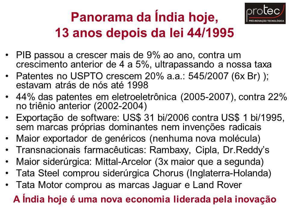 Panorama da Índia hoje, 13 anos depois da lei 44/1995 PIB passou a crescer mais de 9% ao ano, contra um crescimento anterior de 4 a 5%, ultrapassando