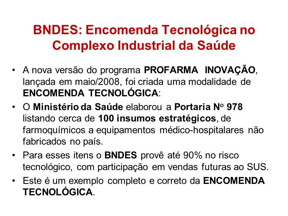BNDES: Encomenda Tecnológica no Complexo Industrial da Saúde A nova versão do programa PROFARMA INOVAÇÃO, lançada em maio/2008, foi criada uma modalid